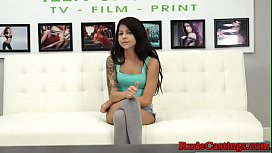 Tattooed teen hardfucked at...