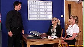 Alluring CFNM babes blackmailing...