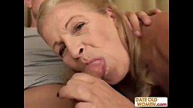 Blonde old grandma gets...