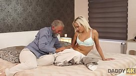 DADDY4K. Blonde-haired dollface Ria Sun tries old dick of BF&rsquo_s dad