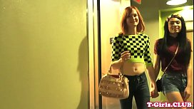 Redhead tgirl plows her...