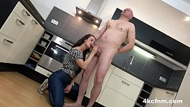 Cute Teen Testing Out Old Timer's Jizz