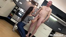 Cute Teen Testing Out Old Timer'_s Jizz