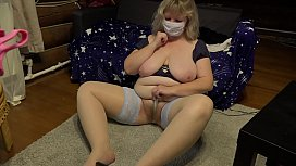 A mature housewife in stockings shows off her charms in a private sex chat. Big tits, stuffed belly, hairy pussy, and plump thighs. The homemade fetish of a sexy milf.