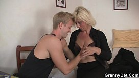 Mature blonde takes it...