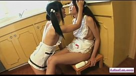 2 Asian Girls With Small Tits Kissing Sucking Tongues Licking Source Cream Form