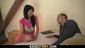 Young brunette takes forced...