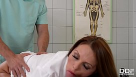 Clinic threesome with Milf Doc Dominica Phoenix leads to double penetration xnxx image
