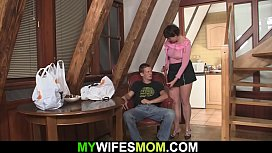 Horny m.-in-law swallows his big dick