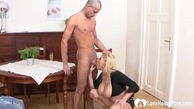 Blonde woman with big...