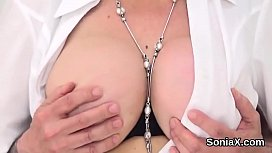 Cheating british mature lady sonia flaunts her enormous boobs