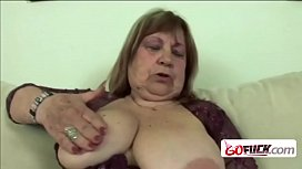 Horny grandmother with giant hanging tits loves sucking