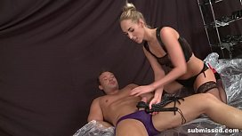 Blonde Dominatrix Babe submisses...
