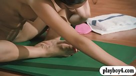 Hot women and trainer hot yoga session while all naked