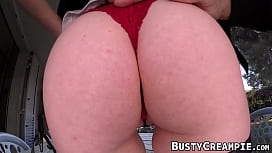 Curvy harlot has a wild fuck session with stud outdoors