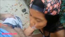 HD Heather deep let's cum explode in throat out mouth and eats it on rainy day in bikini