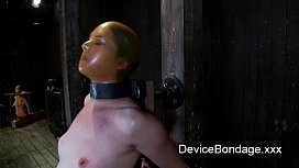 Bound to a beam babes rides Sybian