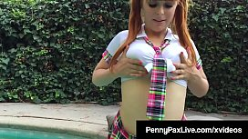 Horny School Student Penny Pax Finger Bangs Outside!