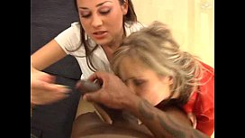 Interracial threesome with a milf