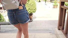The denim overalls with no top in public