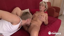 Mature Slut Fills Her Hairy Pussy With A Nice Young Dick