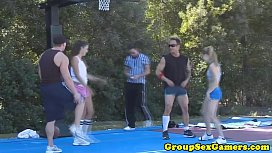 Sporty amateurs playing party...