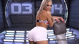 Hot blonde spreads pussy...