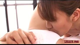 Busty Asian Girl Getting Her Hairy Pussy Licked And Fingered By Woman On The Bed