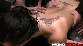 Bukkake slut craves for...