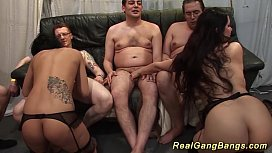 Extreme gangbang orgy with...