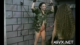 Hot female screwed and stimulated in extraordinary bondage
