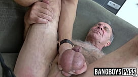 Hung young jock spanks old gays ass and cums in his mouth