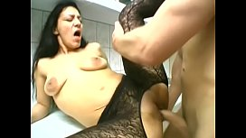 Squirter in stockings gets...