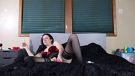 Whore Fucks Her Little Pussy Deeply in Lingerie