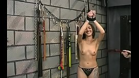Naked woman screams with stud roughly playing with her vag