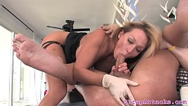 Busty mistress pegging sub before dickriding