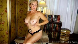 Sexy old spunker loves talking dirty &amp_ fucking her juicy pussy 4 U