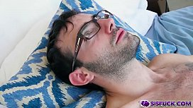 Jake Adams got his thick cock ridden on top by a tight hairy pussy and bounce off!