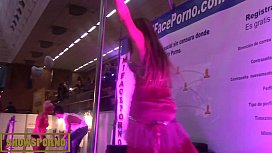 Blonde pole dancer show...