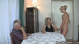 He finds his mom and dad fucking his GF porn vid
