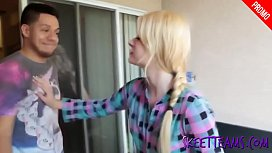 Blonde teenager gets blackmailed...