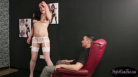 Babe takes a cumload at stripper audition