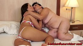 Fat granny orally pleased by young lesbo