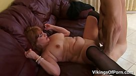 Big Boobed Redhead Housewife Calliste gets Pounded in Stockings