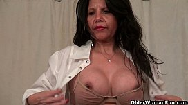 Milfs April White and Eva Griffin get frisky behind the desk