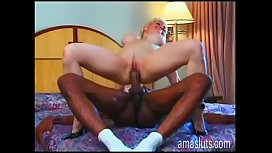 Interracial sex for a bored mature blonde