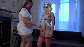 Doctor BBW helped find a pregnant nurse orgasm. Role-playing fetish of two lesbians.