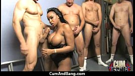 Black girl sucks many white cocks in redneck group 4