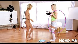 Perverted legal age teenager babes do everything to show off at the casting