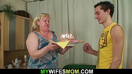 Very old m. in law pleases him at birthday